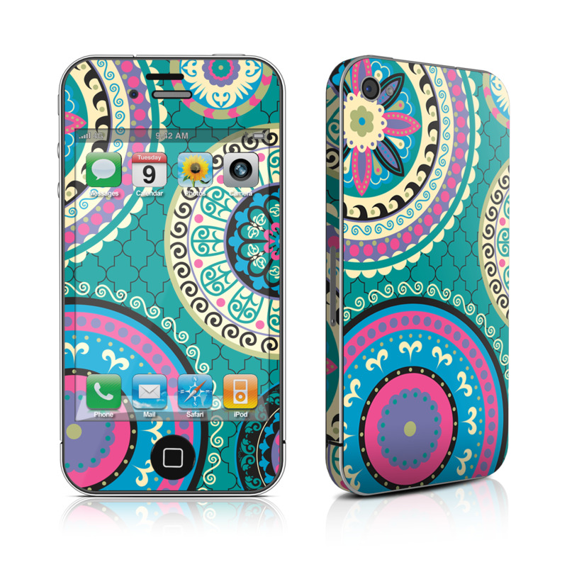 iPhone 4s Skin design of Pattern, Turquoise, Teal, Circle, Visual arts, Design, Textile, Motif, Psychedelic art, Paisley with blue, gray, black, purple, pink colors