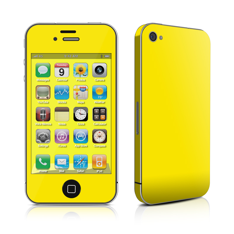 Solid State Yellow iPhone 4s Skin