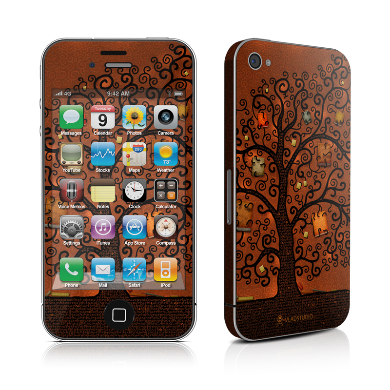 iPhone 4s Skin design of Tree, Brown, Leaf, Plant, Woody plant, Branch, Visual arts, Font, Pattern, Art with black colors