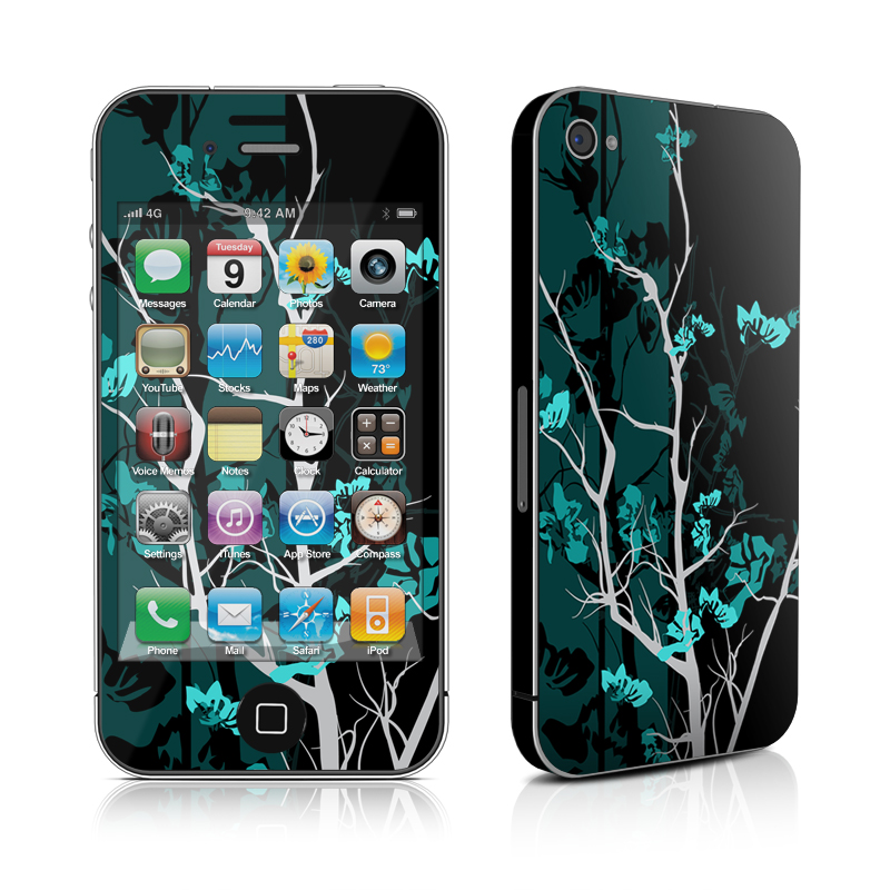 iPhone 4s Skin design of Branch, Black, Blue, Green, Turquoise, Teal, Tree, Plant, Graphic design, Twig with black, blue, gray colors