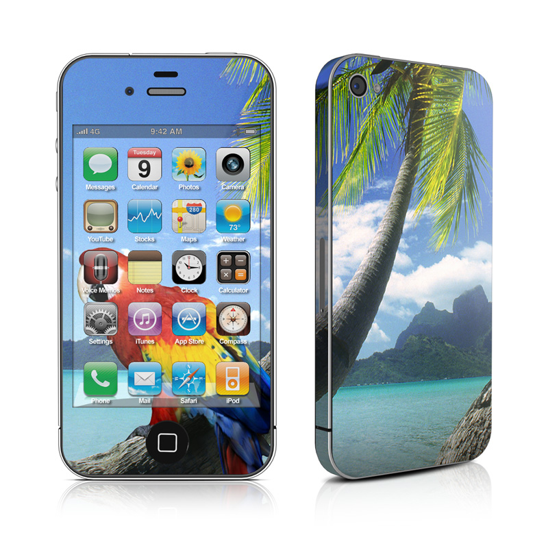 iPhone 4s Skin design of Nature, Bird, Tropics, Caribbean, Tree, Parrot, Palm tree, Vacation, Macaw, Ocean with blue, black, gray, green colors