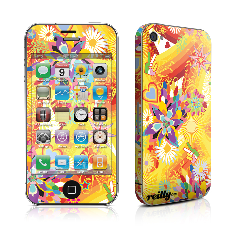 iPhone 4s Skin design of Pattern, Psychedelic art, Graphic design, Colorfulness, Art with orange, gray, green, red, pink, purple colors