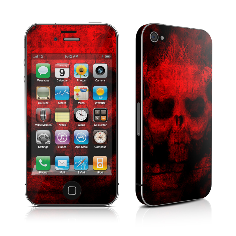 iPhone 4s Skin design of Red, Skull, Bone, Darkness, Mouth, Graphics, Pattern, Fiction, Art, Fractal art with black, red colors