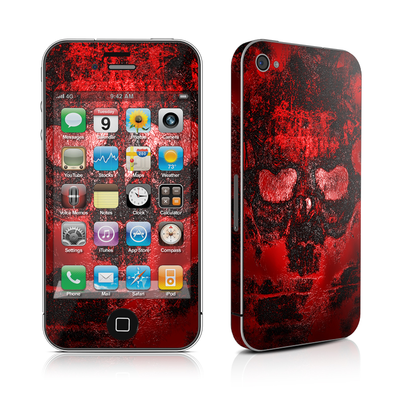 iPhone 4s Skin design of Red, Heart, Graphics, Pattern, Skull, Graphic design, Flesh, Visual arts, Art, Illustration with black, red colors