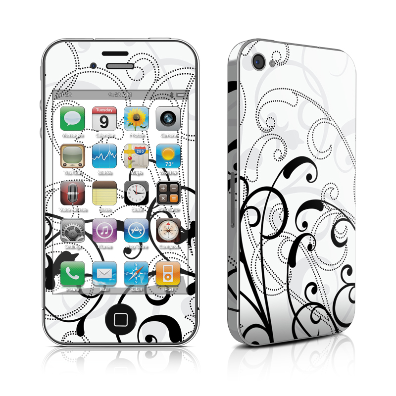 iPhone 4s Skin design of White, Line art, Floral design, Pattern, Black-and-white, Design, Botany, Ornament, Leaf, Line with white, gray, black colors