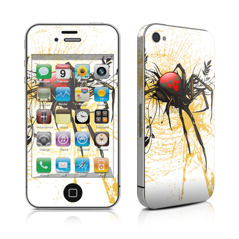 iPhone 4s Skin design of Black widow, Widow spider, Spider, Illustration, Graphic design, Tangle-web spider, Art, Fictional character, Graphics, Visual arts with white, pink, black, yellow, gray, green colors
