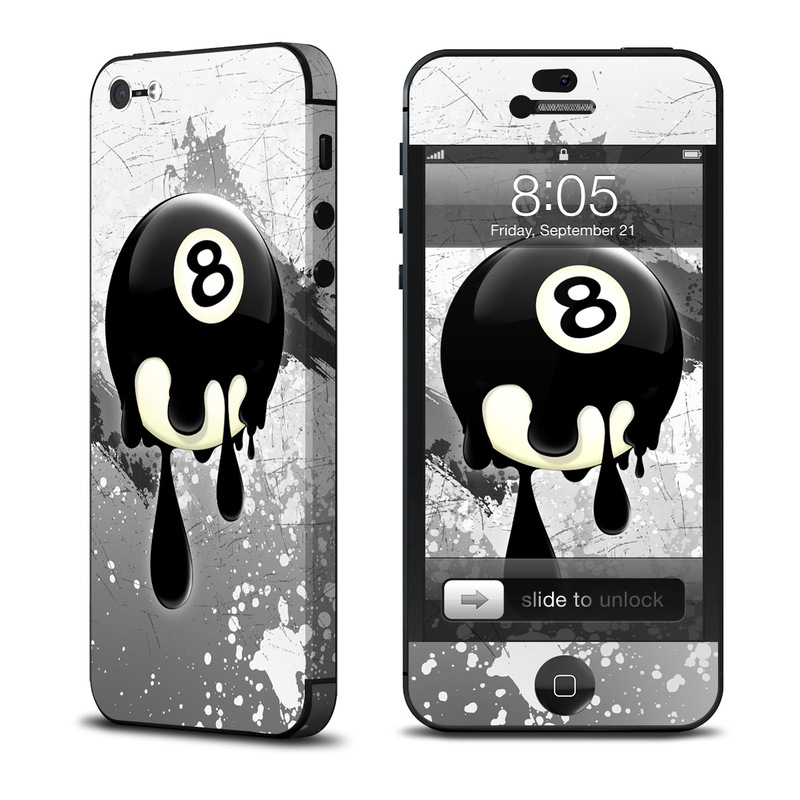 iPhone 5 Skin design of Eight-ball, Games, Billiard ball, Pool, Indoor games and sports, Cartoon, Ball, Graphic design, Pocket billiards, Animated cartoon with black, yellow, green colors