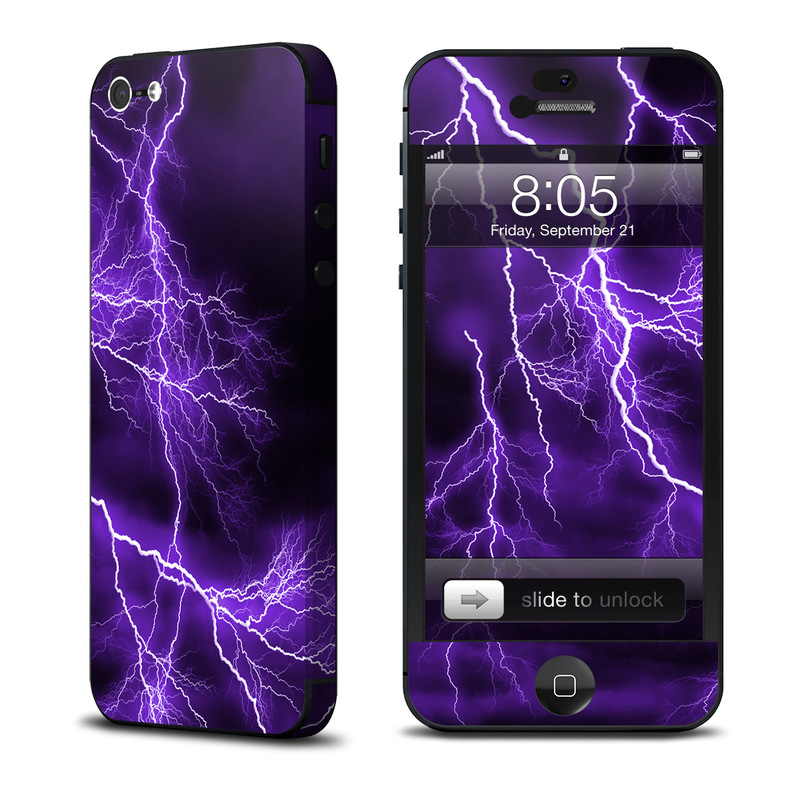 iPhone 5 Skin design of Thunder, Lightning, Thunderstorm, Sky, Nature, Purple, Violet, Atmosphere, Storm, Electric blue with purple, black, white colors