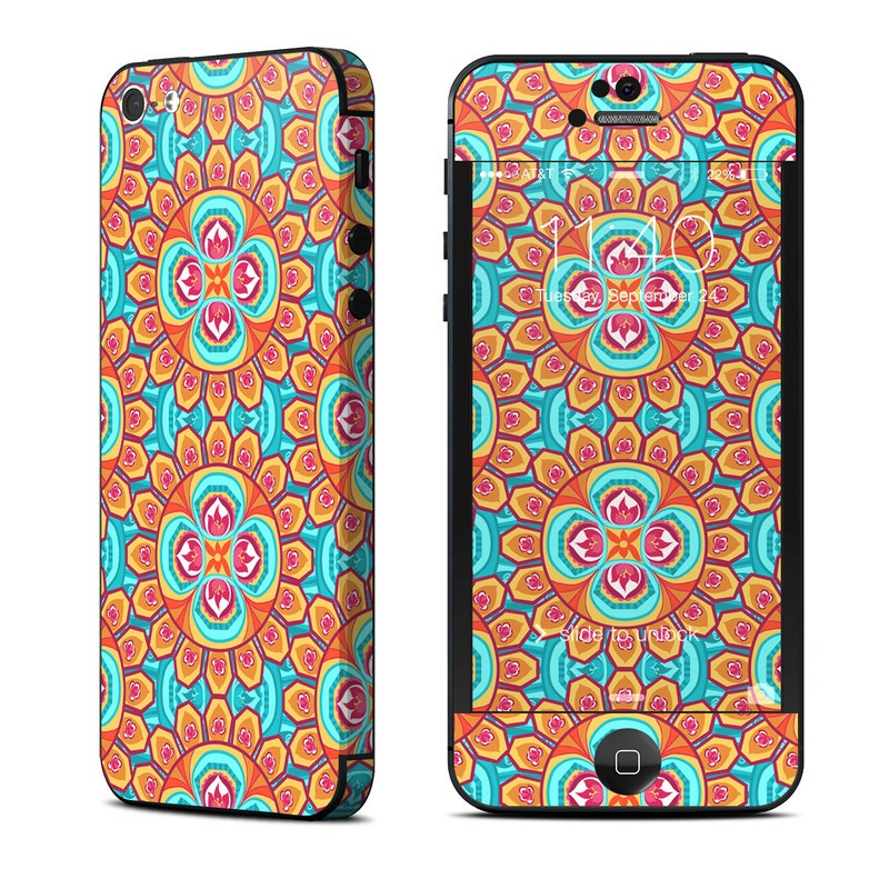 iPhone 5 Skin design of Pattern, Orange, Design, Textile, Wrapping paper, Visual arts, Motif, Circle, Art with blue, orange, red, yellow colors