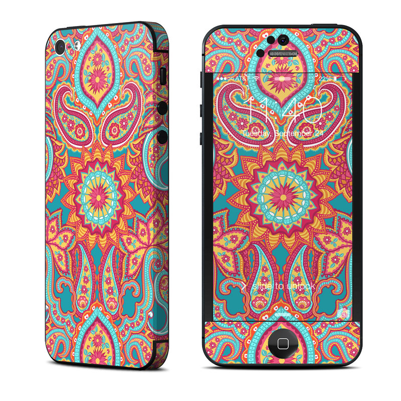iPhone 5 Skin design of Pattern, Paisley, Motif, Visual arts, Design, Art, Textile, Psychedelic art with orange, yellow, blue, red colors