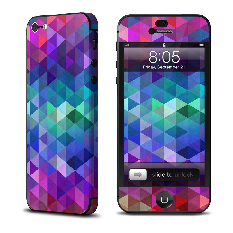 iPhone 5 Skin design of Purple, Violet, Pattern, Blue, Magenta, Triangle, Line, Design, Graphic design, Symmetry with blue, purple, green, red, pink colors