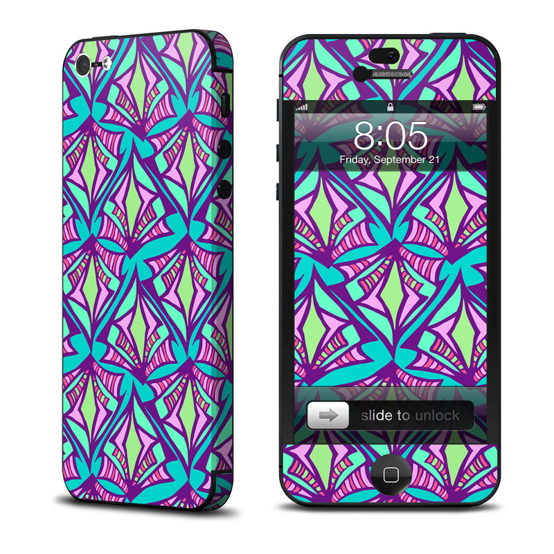 iPhone 5 Skin design of Pattern, Purple, Pink, Line, Magenta, Symmetry, Design, Teal, Textile with blue, purple, gray, green, pink colors