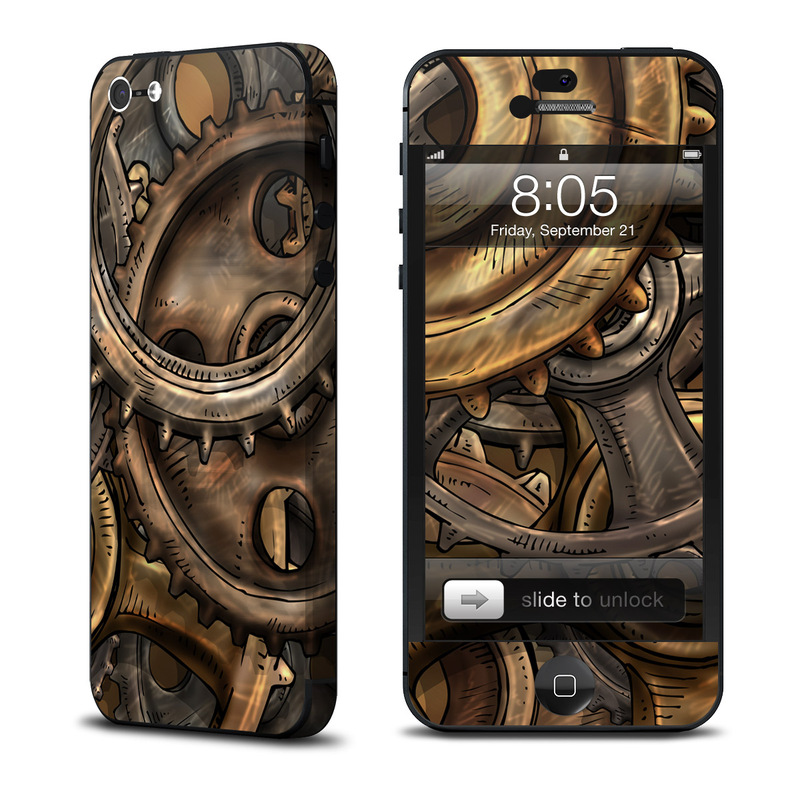 iPhone 5 Skin design of Metal, Auto part, Bronze, Brass, Copper with black, red, green, gray colors