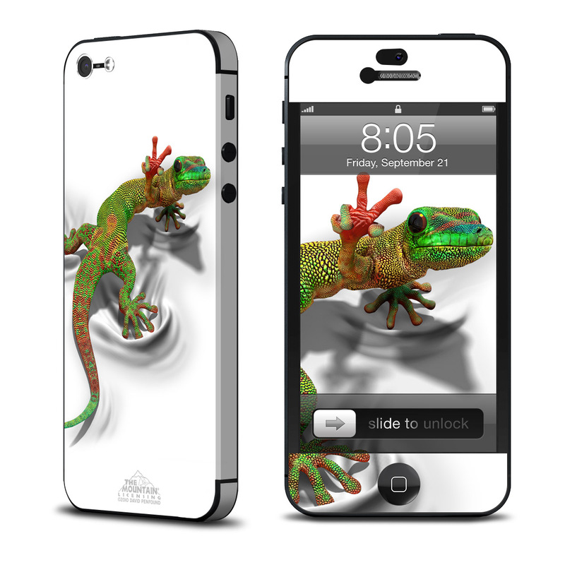 iPhone 5 Skin design of Lizard, Reptile, Gecko, Scaled reptile, Green, Iguania, Animal figure, Wall lizard, Fictional character, Iguanidae with white, gray, black, red, green colors