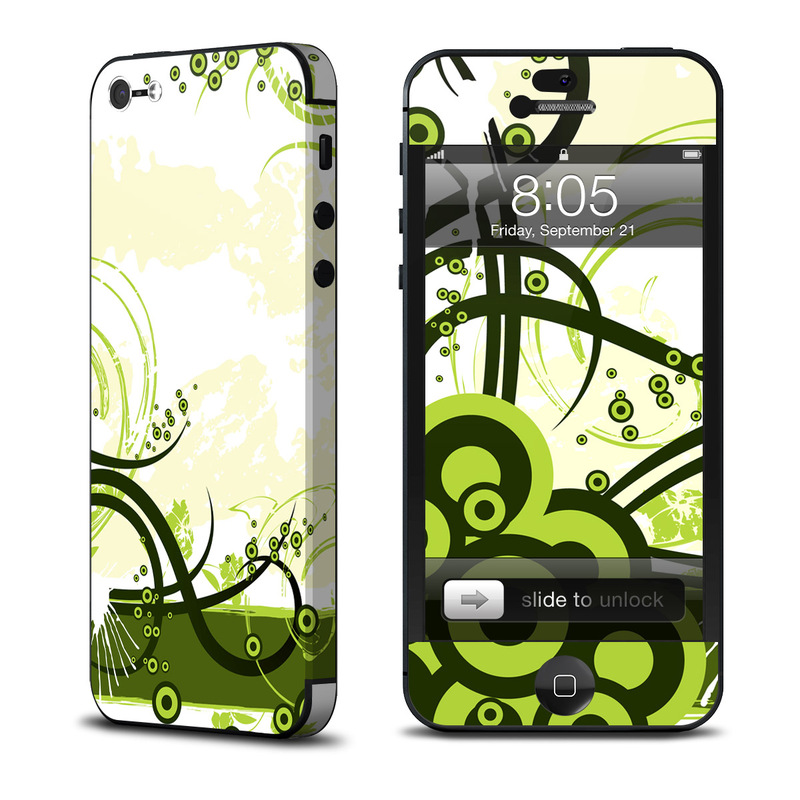 iPhone 5 Skin design of Green, Clip art, Leaf, Botany, Graphic design, Line, Floral design, Design, Plant, Grass with white, yellow, black, green, gray colors