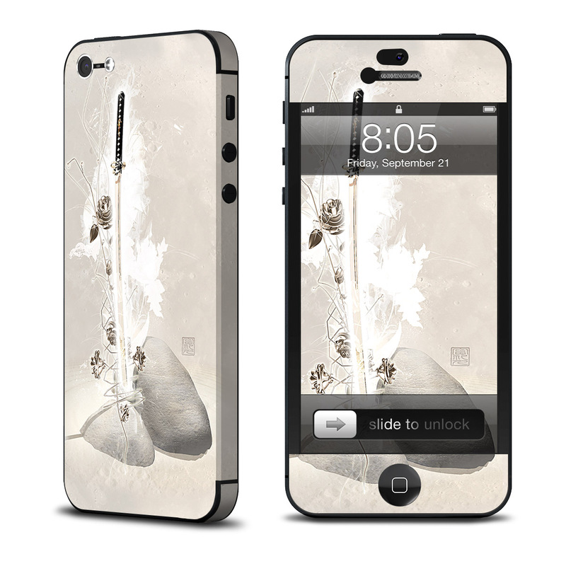 iPhone 5 Skin design of White, Ceiling, Headpiece, Hair accessory, Plant, Flower, Illustration with gray, white, yellow, pink colors