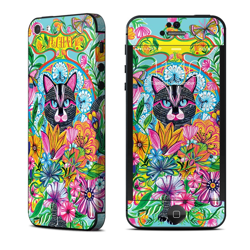 iPhone 5 Skin design of Visual arts, Art, Plant, Illustration, Pattern, Floral design, Flower, Wildflower with white, blue, pink, black, green, yellow colors