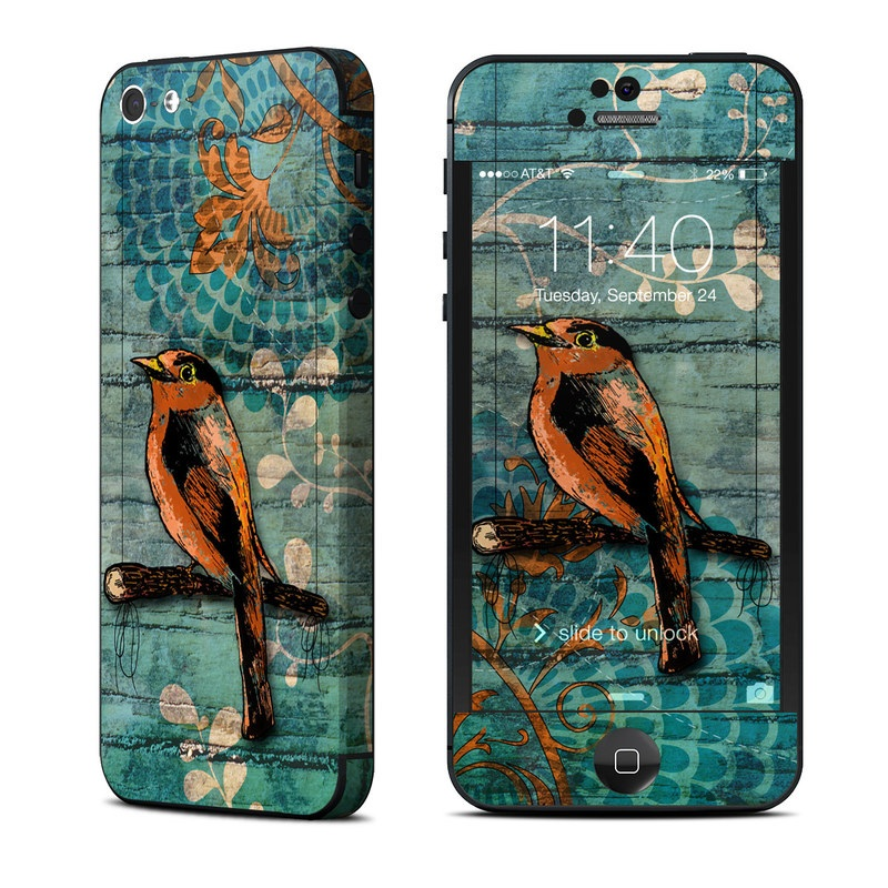 iPhone 5 Skin design of Bird, Turquoise, Painting, Art, Coraciiformes, Branch, Beak, Wildlife, Perching bird, Illustration with black, blue, gray, green, red colors