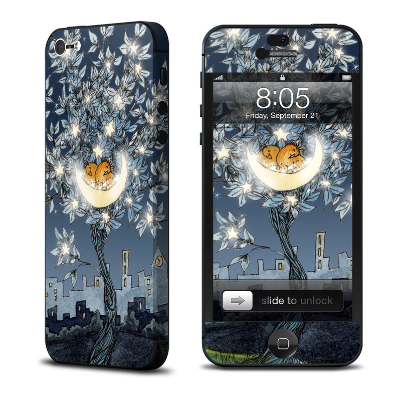 iPhone 5 Skin design of Illustration, Sky, Tree, Plant, Art, Space, Landscape, Flower, House, World with black, gray, blue colors