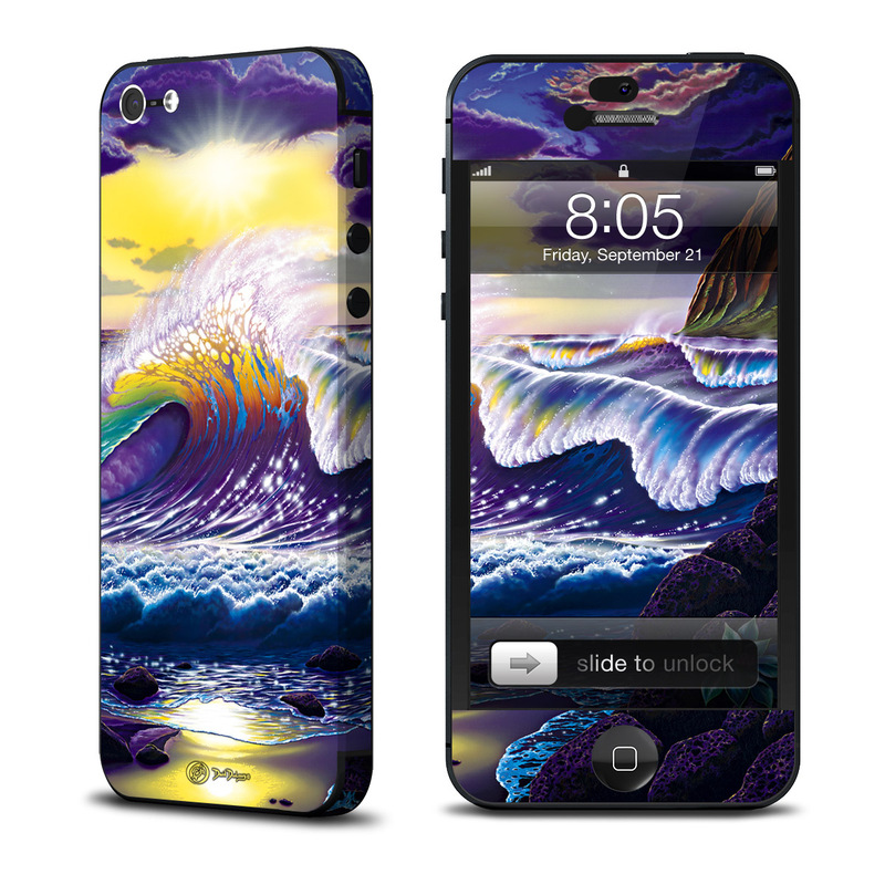 iPhone 5 Skin design of Nature, Sky, Water, Wave, Purple, Cg artwork, Wind wave, Geological phenomenon, Mythology, Art with black, gray, blue, pink, green colors