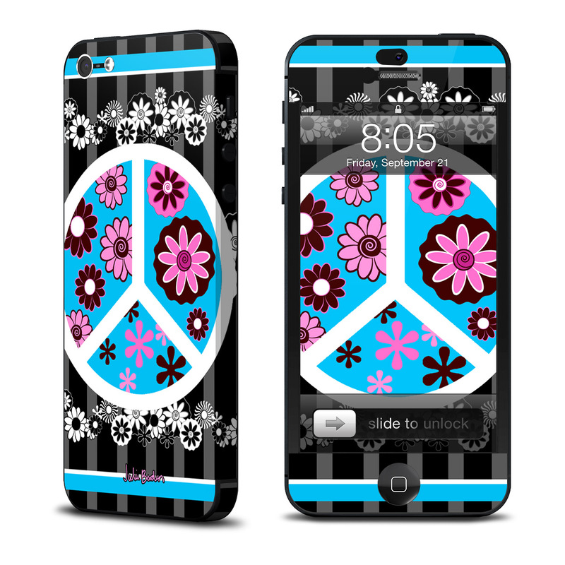Peace Flowers Black iPhone 5 Skin