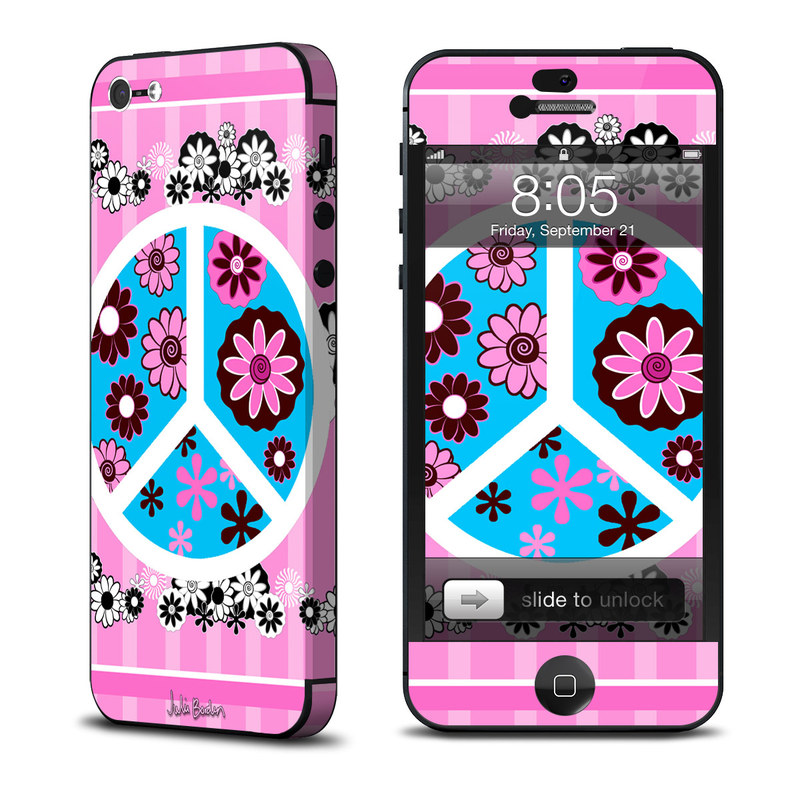 Peace Flowers Pink iPhone 5 Skin