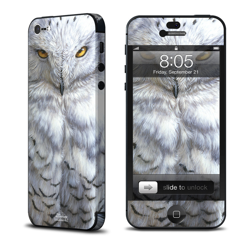 iPhone 5 Skin design of Owl, Bird, Bird of prey, Snowy owl, great grey owl, Close-up, Eye, Snout, Wildlife, Eastern Screech owl with gray, white, black, blue, purple colors