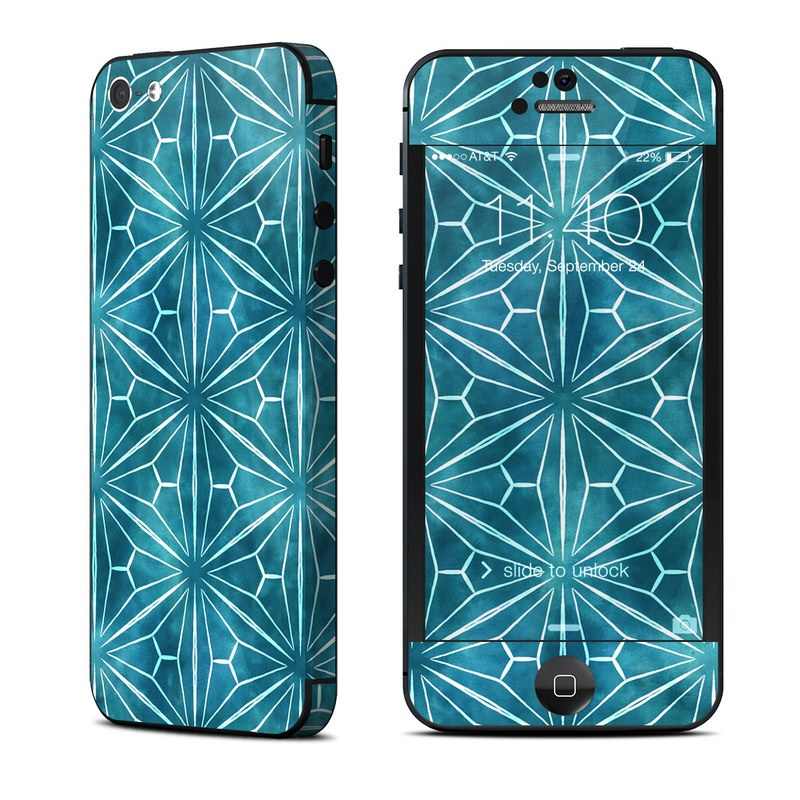 iPhone 5 Skin design of Pattern, Blue, Green, Symmetry, Turquoise, Line, Aqua, Design, Plant with blue, white colors