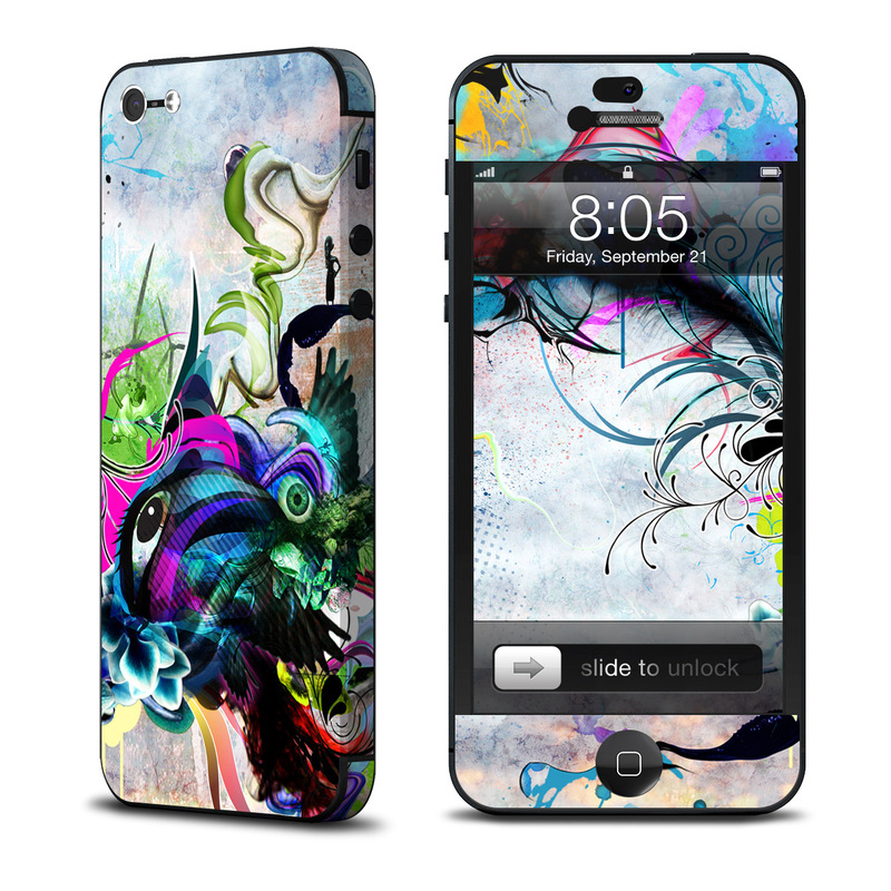 iPhone 5 Skin design of Graphic design, Psychedelic art, Art, Illustration, Purple, Visual arts, Graffiti, Street art, Design, Painting with gray, black, blue, green, purple colors