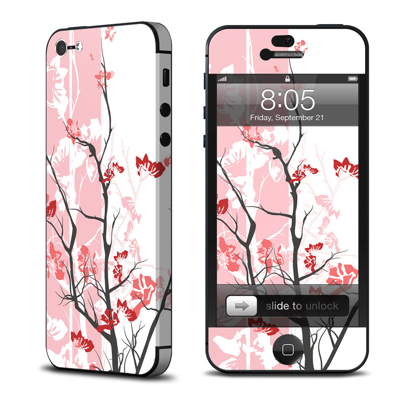 iPhone 5 Skin design of Branch, Red, Flower, Plant, Tree, Twig, Blossom, Botany, Pink, Spring with white, pink, gray, red, black colors
