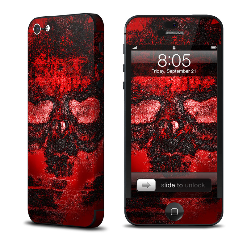 iPhone 5 Skin design of Red, Heart, Graphics, Pattern, Skull, Graphic design, Flesh, Visual arts, Art, Illustration with black, red colors