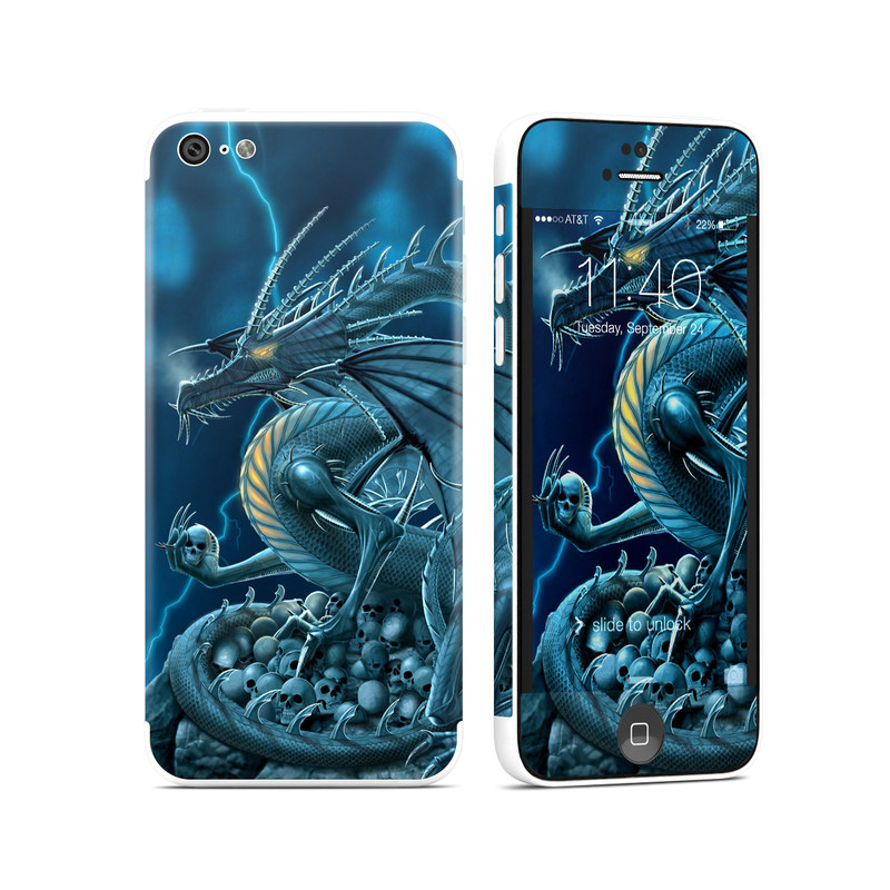 iPhone 5c Skin design of Cg artwork, Dragon, Mythology, Fictional character, Illustration, Mythical creature, Art, Demon with blue, yellow colors