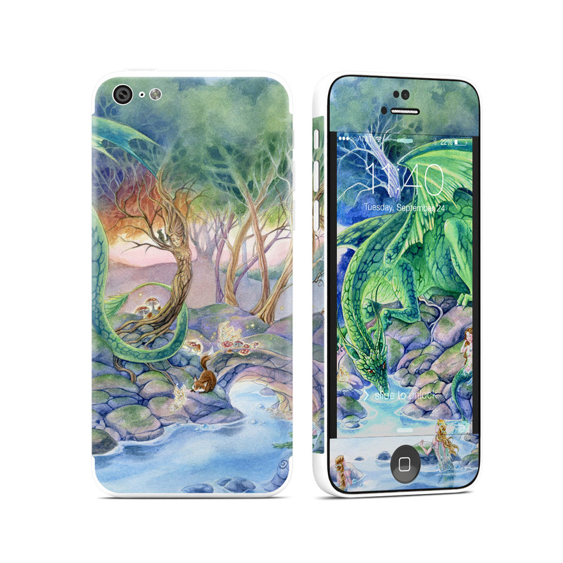 iPhone 5c Skin design of Watercolor paint, Painting, Illustration, Tree, Fictional character, Mythology, Art, Plant, Cg artwork, Mythical creature with green, yellow, blue colors
