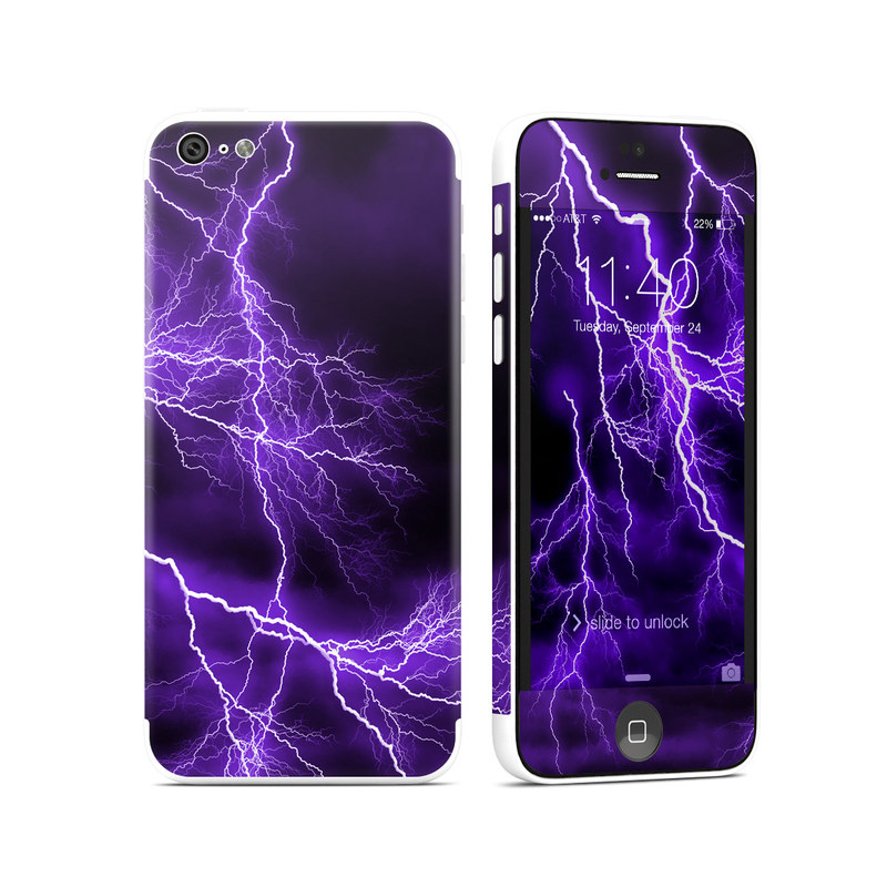 iPhone 5c Skin design of Thunder, Lightning, Thunderstorm, Sky, Nature, Purple, Violet, Atmosphere, Storm, Electric blue with purple, black, white colors