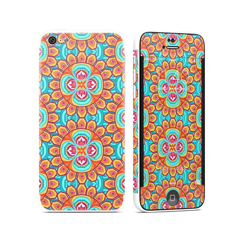 iPhone 5c Skin design of Pattern, Orange, Design, Textile, Wrapping paper, Visual arts, Motif, Circle, Art with blue, orange, red, yellow colors