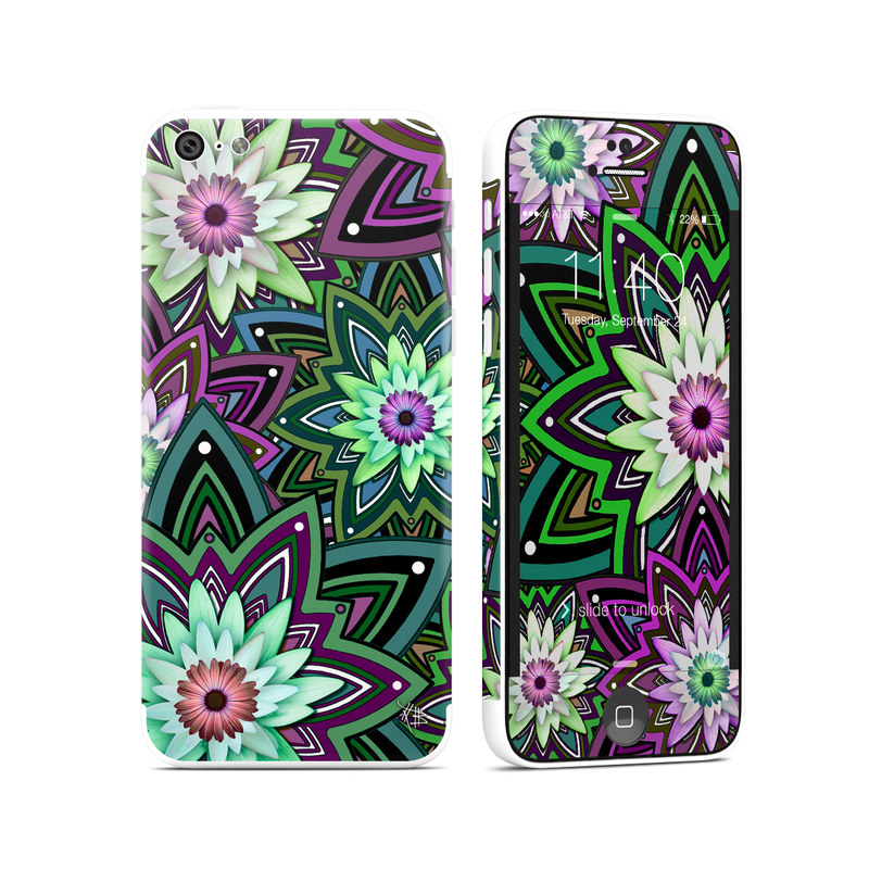 iPhone 5c Skin design of Pattern, Purple, Green, Flower, Psychedelic art, Design, Lilac, Plant, Symmetry, Visual arts with black, gray, green, purple, blue, red colors