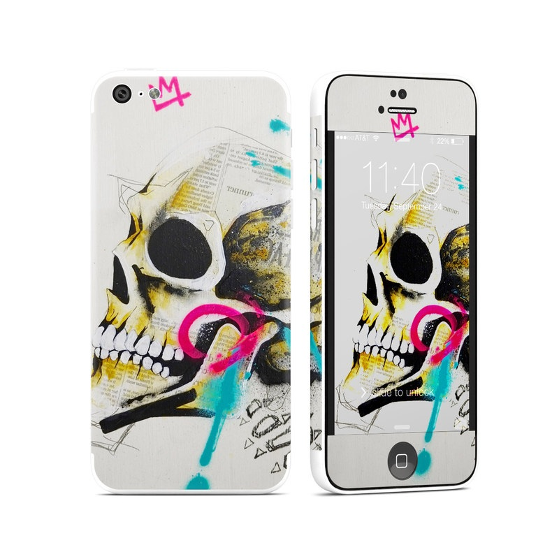 iPhone 5c Skin design of Graphic design, Skull, Illustration, Art, Bone, Drawing, Visual arts, Font, Modern art, Street art with blue, pink, yellow, black colors