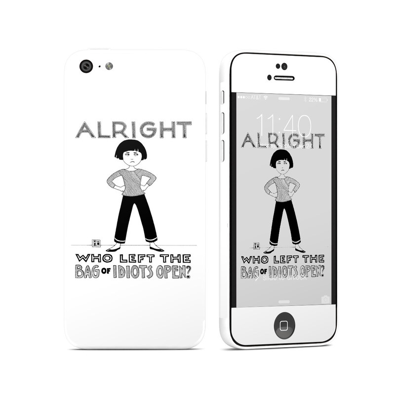 iPhone 5c Skin design of Font, Poster, Illustration with black, white colors