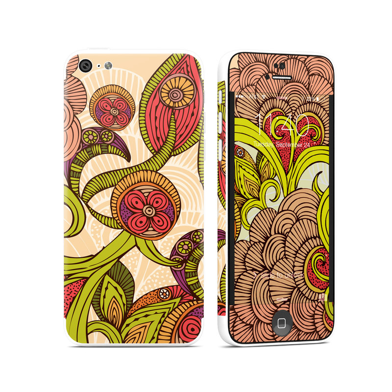 iPhone 5c Skin design of Pattern, Floral design, Motif, Visual arts, Illustration, Design, Paisley, Art, Circle, Plant with red, green, pink, black, gray colors