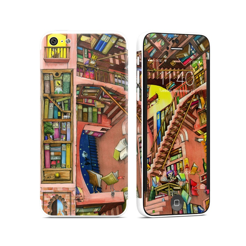 iPhone 5c Skin design of Cartoon, Building, Art, Architecture, Design, Fun, Retail, Illustration, Neighbourhood, Room with pink, yellow, blue, red, orange, brown colors