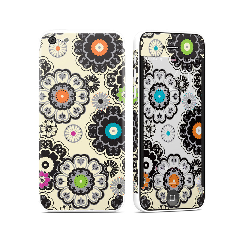 iPhone 5c Skin design of Pattern, Circle, Design, Visual arts, Floral design, Textile, Psychedelic art, Art, Plant with gray, black, pink, green, purple colors