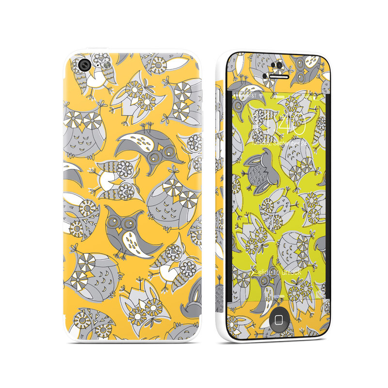 iPhone 5c Skin design of Yellow, Owl, Pattern, Line art, Wrapping paper, Design, Illustration, Bird with gray, orange, green, white colors