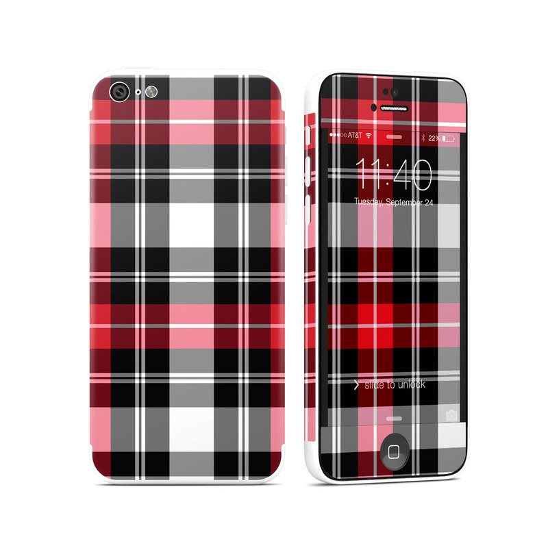 iPhone 5c Skin design of Plaid, Tartan, Pattern, Red, Textile, Design, Line, Pink, Magenta, Square with black, gray, pink, red, white colors