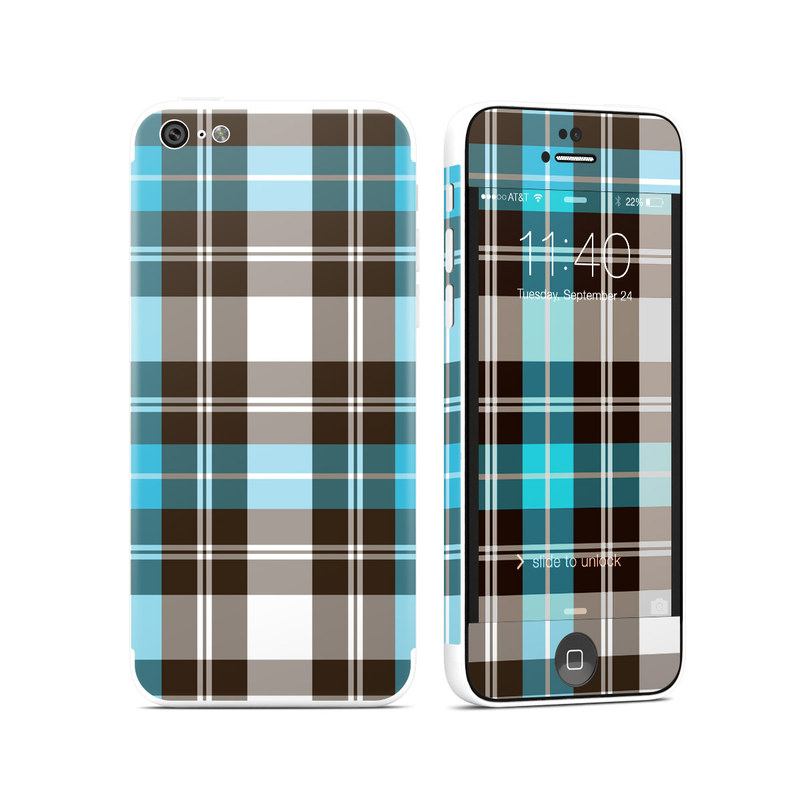 Turquoise Plaid iPhone 5c Skin