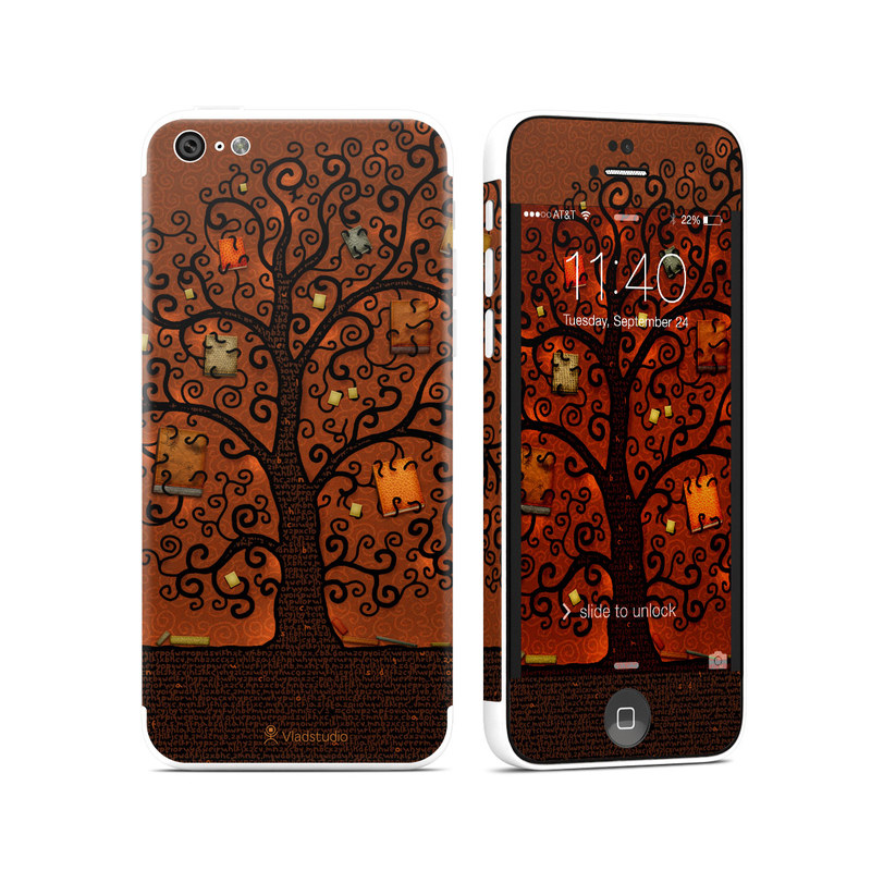 iPhone 5c Skin design of Tree, Brown, Leaf, Plant, Woody plant, Branch, Visual arts, Font, Pattern, Art with black colors
