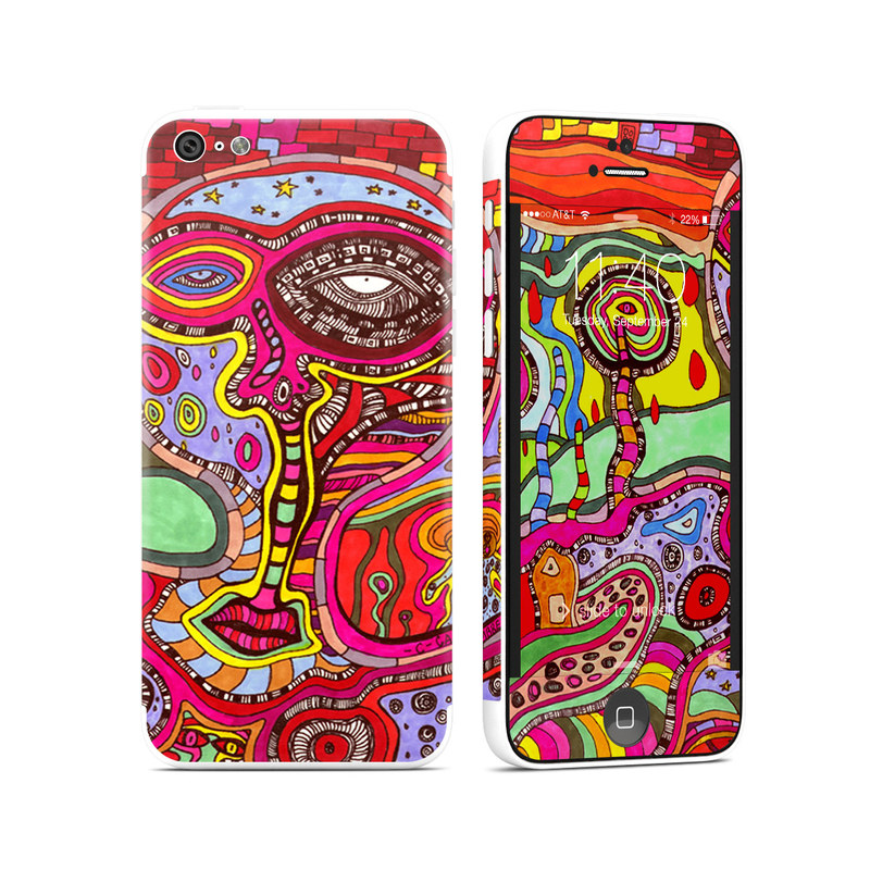 iPhone 5c Skin design of Psychedelic art, Art, Visual arts, Pattern, Modern art, Design, Illustration, Paisley, Motif, Textile with red, gray, black, green, purple, pink colors
