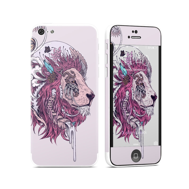 iPhone 5c Skin design of Illustration, Drawing, Sketch, Art, Graphic design, Lion, Goats, Fictional character, Ink, Bison with gray, purple, black, red colors
