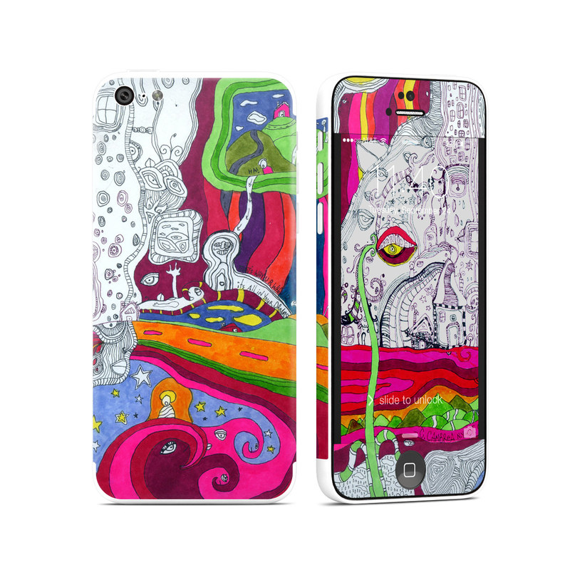 iPhone 5c Skin design of Psychedelic art, Art, Visual arts, Illustration, Modern art, Organism, Design, Pattern, Graphic design, Drawing with gray, red, green, white, blue colors