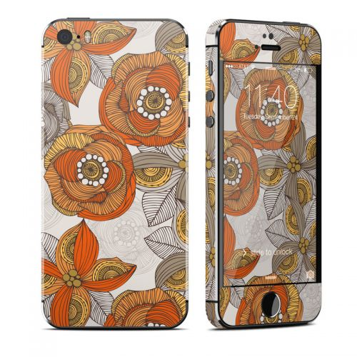 Orange and Grey Flowers iPhone SE, 5s Skin
