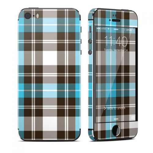 Turquoise Plaid iPhone SE, 5s Skin